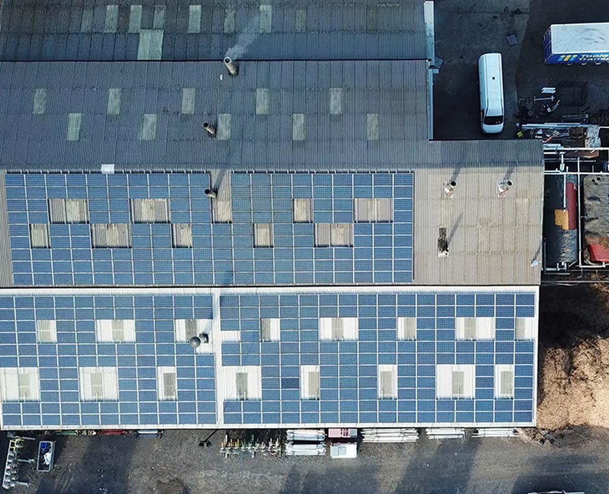 Solar panels on warehouse roof